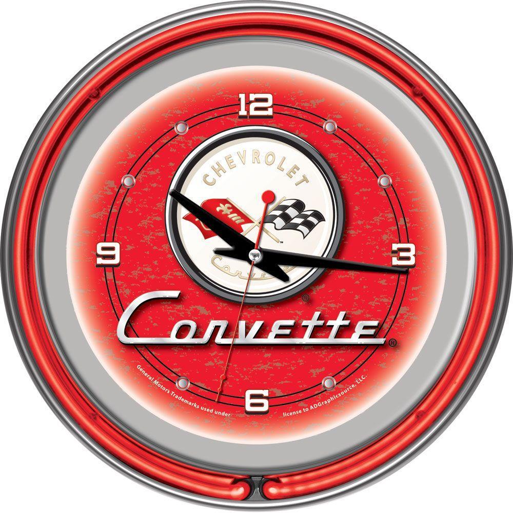 internet trademark global 14 in red corvette c1 neon wall clock