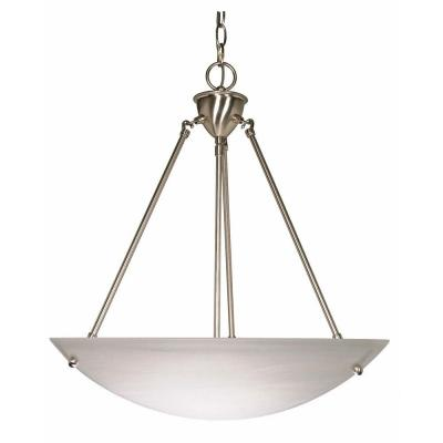 Elektra 3-Light Brushed Nickel Pendant with Alabaster Glass