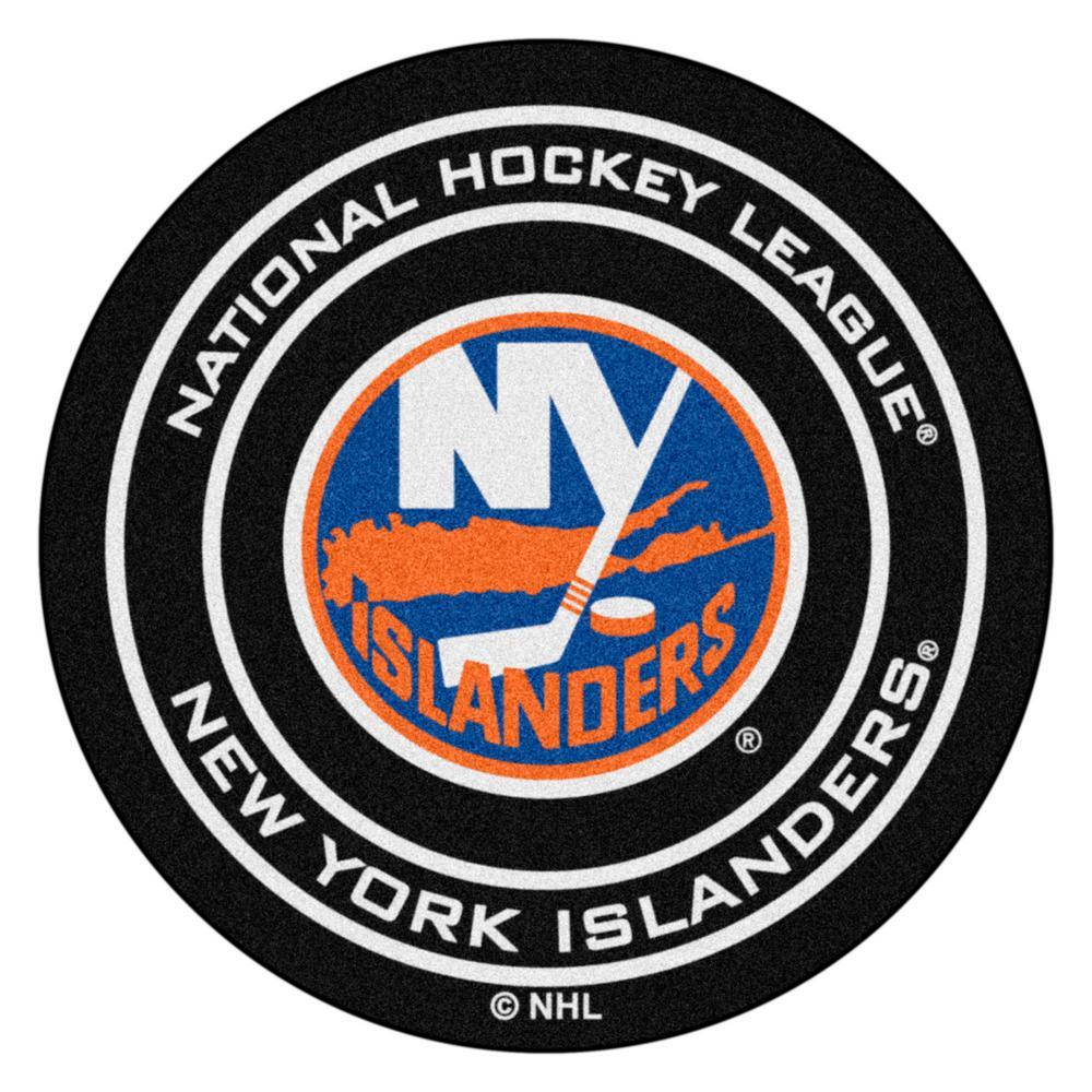 FANMATS New York Islanders Black 27 in. Round Hockey Puck Mat