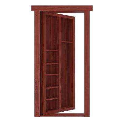 32 in. x 80 in. Flush Mount Assembled Pool Cue Door Cherry Stained Left-Hand Outswing