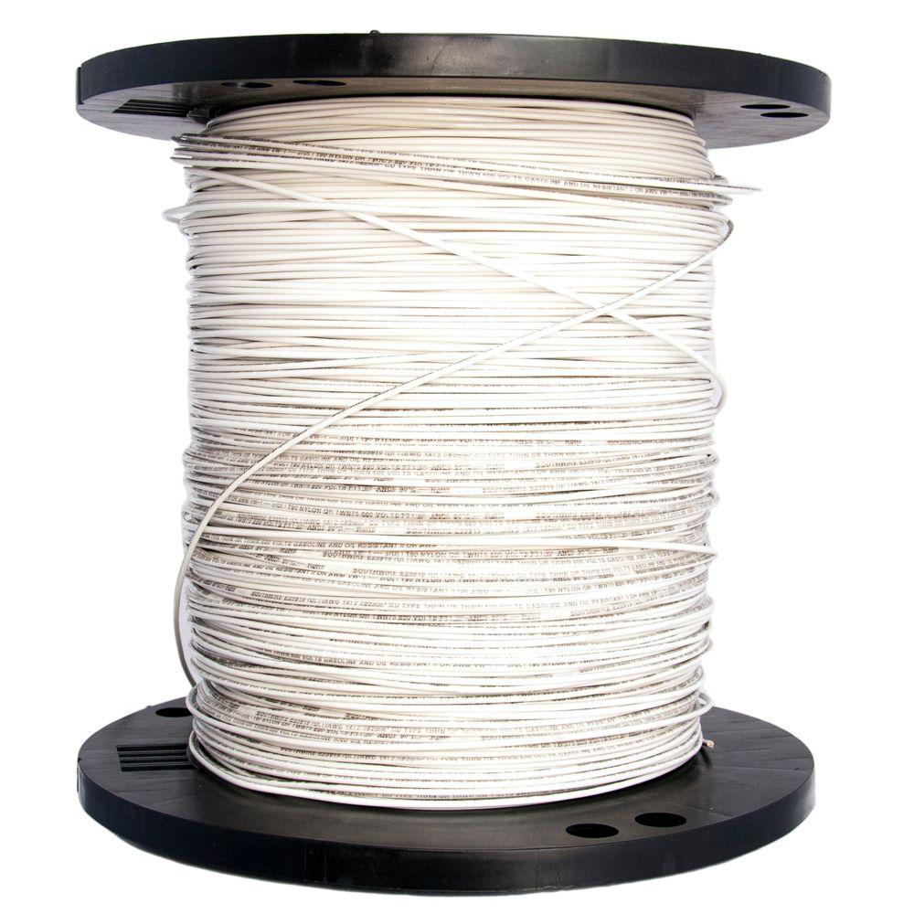 Southwire 2500 ft 14 White Solid CU THHN Wire 11580805