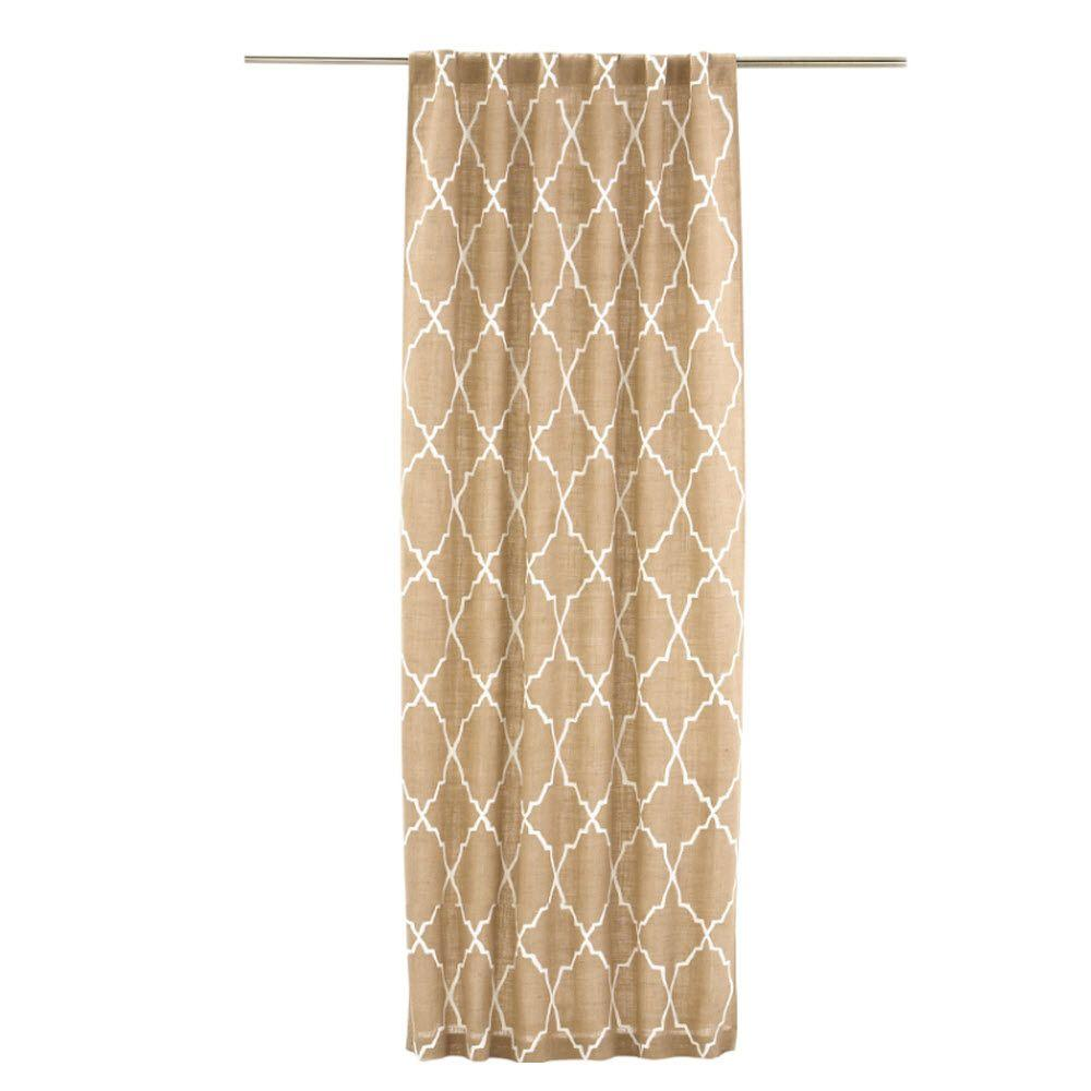 Home Decorators Collection Natural/Ivory Moroccan Tile Burlap Curtain Panel, 48 in. W x 96 in. L