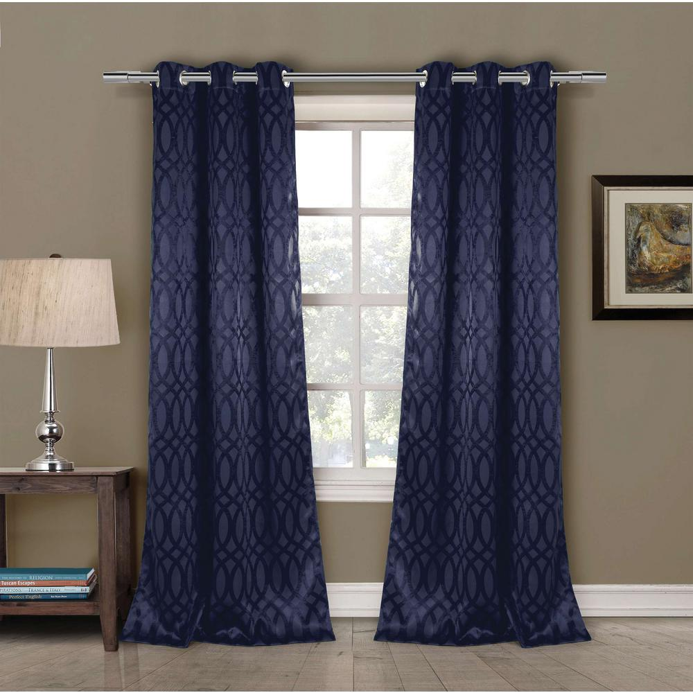 Duck River Blackout Tayla 84 in. L Blackout Grommet Panel in Midnight Blue (2-Pack)