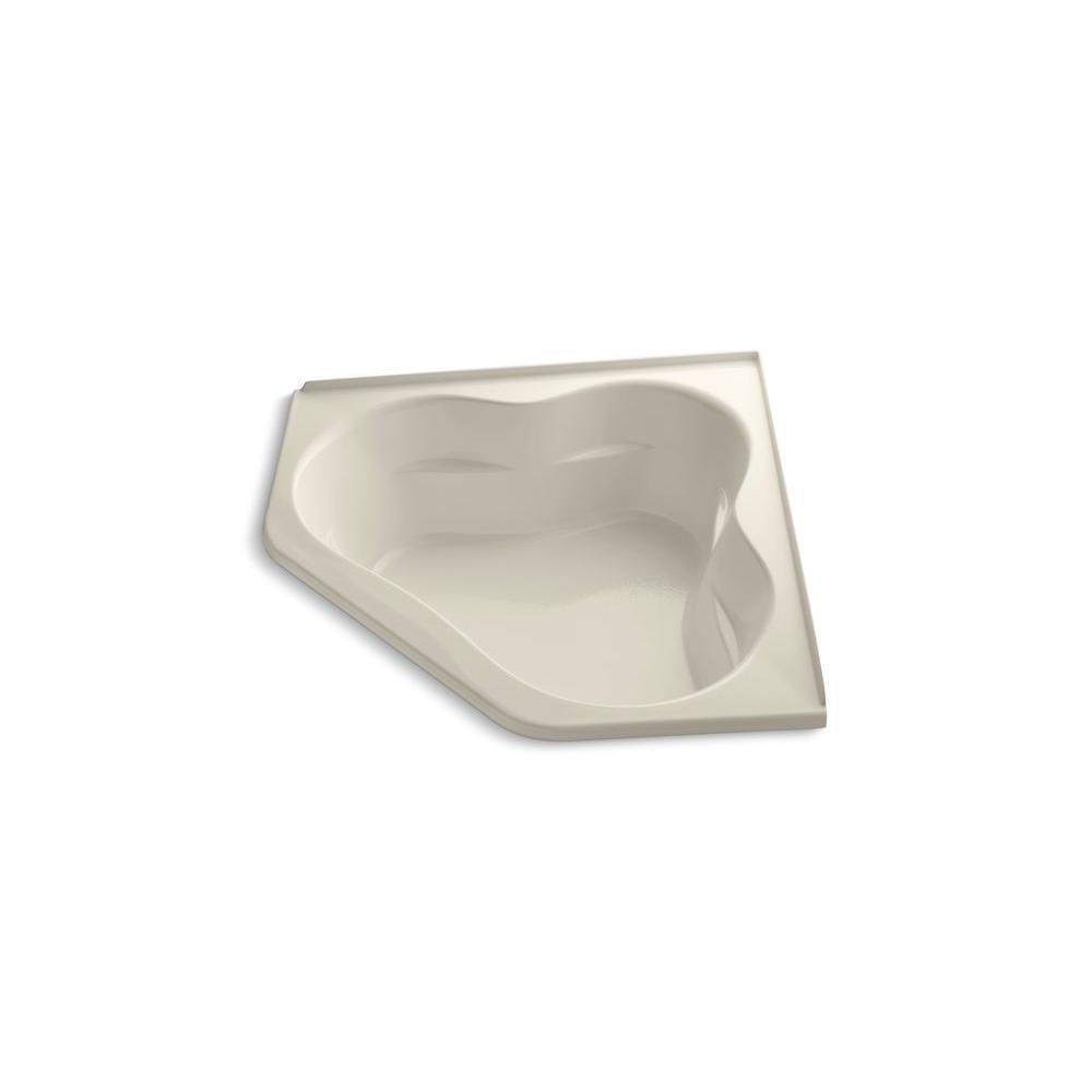 KOHLER Tercet 5 ft. Corner Drop-in Center Drain Soaking Tub in Almond