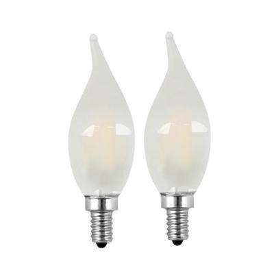 40W Equivalent Soft White (2700K) CA10 Candelabra Dimmable Filament LED Frosted Glass Light Bulb (2-Pack)