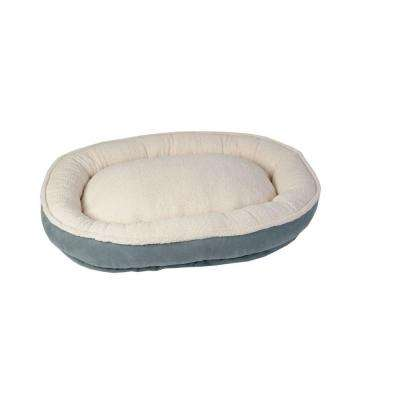 Cloud Sherpa & Faux Suede Comfy Cup Medium Spa Blue Bed