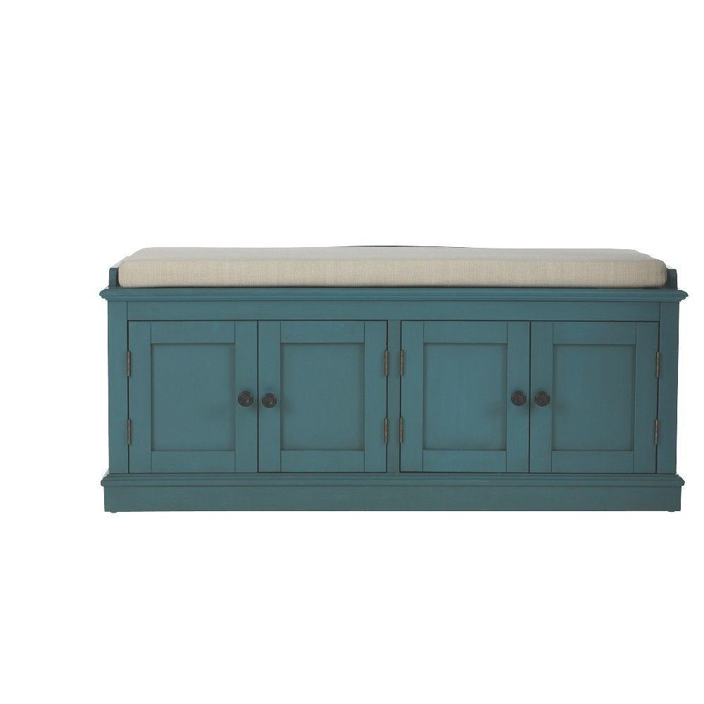 home decorators collection laughlin antique blue storage bench