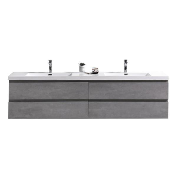 Bohemia 83 in. W Bath Vanity in Cement Gray with Reinforced Acrylic Vanity Top in White with White Basins