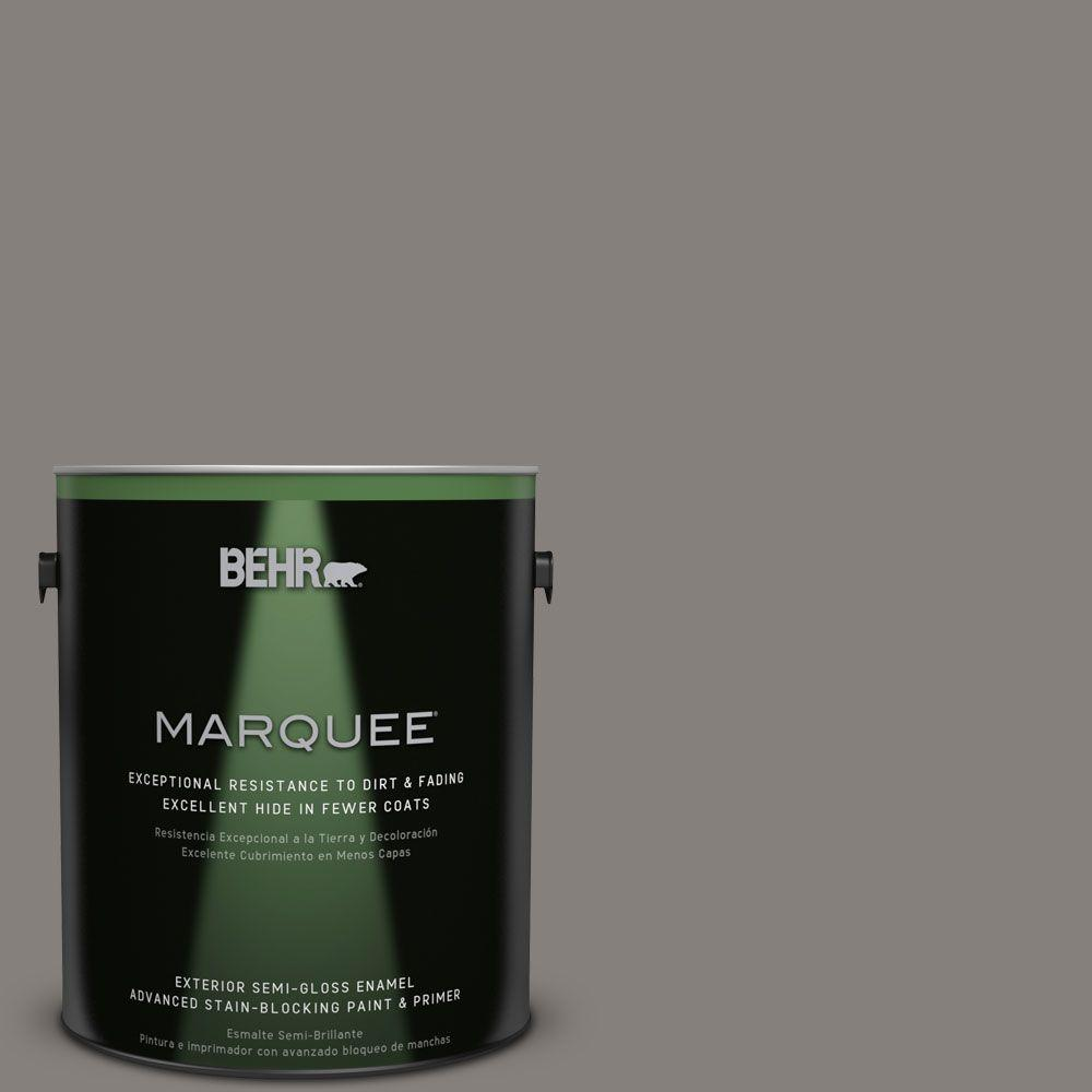 BEHR MARQUEE 1-gal. #PPU18-17 Suede Gray Semi-Gloss Enamel Exterior Paint