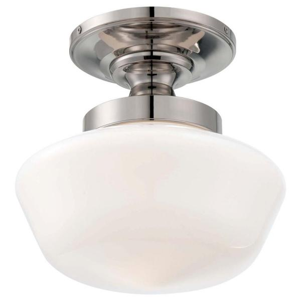 1-Light Polished Nickel Semi-Flush Mount Light