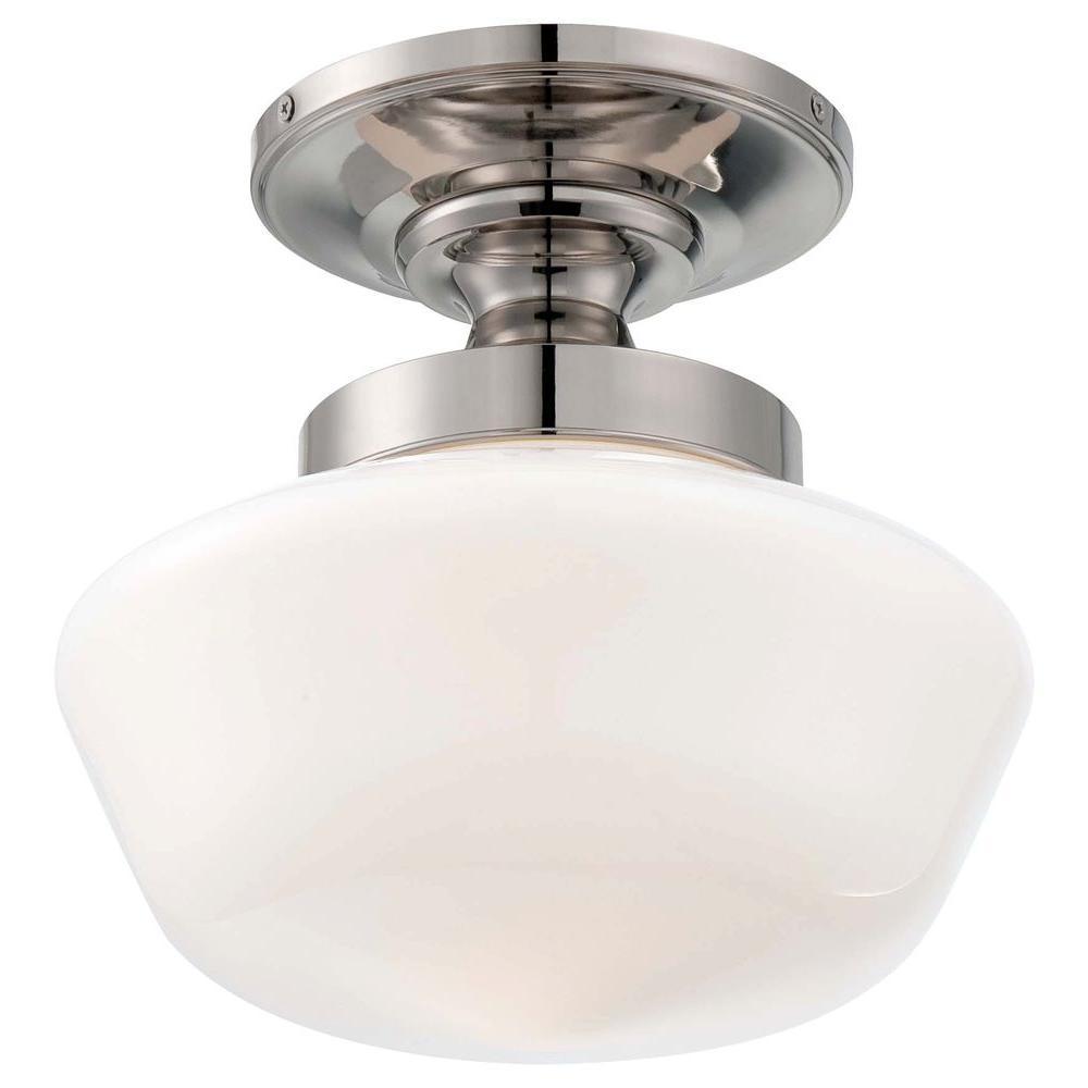 MINKA Lavery 1-Light Polished Nickel Semi-Flush Mount Light