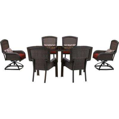 Strathmere 7 Piece All Weather Wicker Rectangular Patio Dining Set With  Crimson Red Cushions
