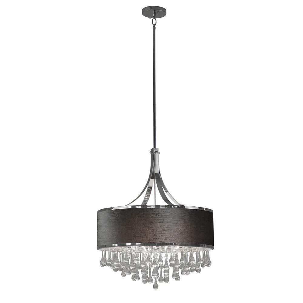 6-Light Chrome Chandelier with Gray Velvet Fabric Shade