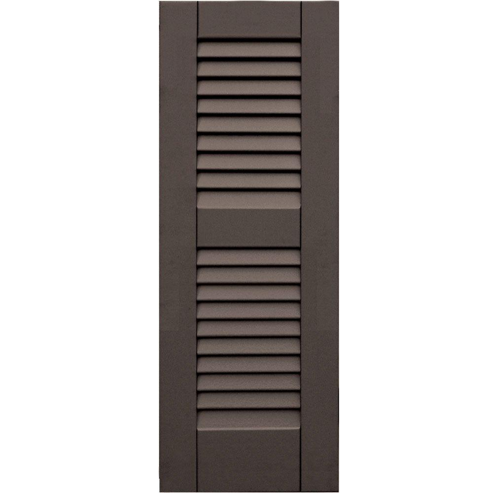Winworks Wood Composite 12 in. x 33 in. Louvered Shutters Pair #641 Walnut