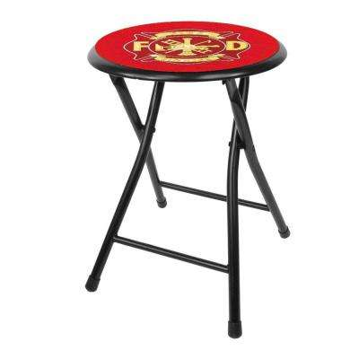 Fire Fighter 18 in. Black Cushioned Folding Bar Stool