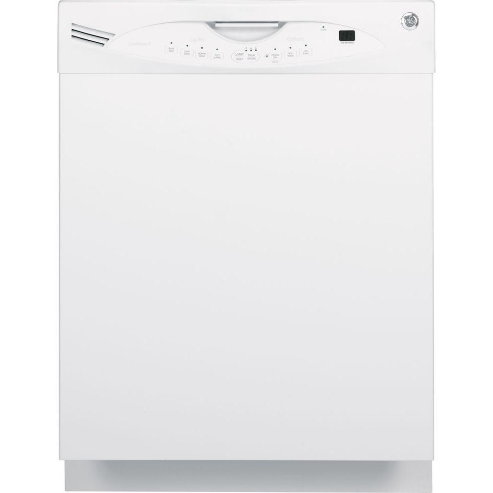 GE Front Control Built-In Tall Tub Dishwasher in White with Stainless Steel Tub