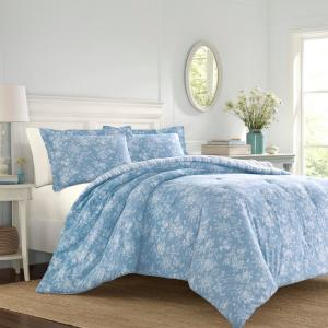 Laura Ashley Walled 3 Piece Blue White Full Queen Comforter Set
