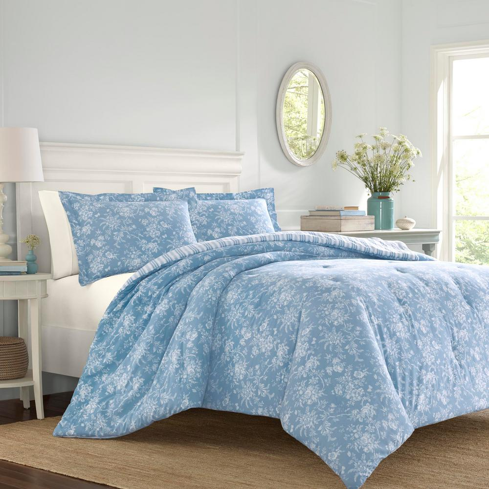 Laura Ashley Walled Garden 3 Piece Blue Cotton King Comforter Set