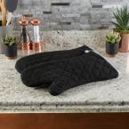 Lavish Home Quilted Cotton Black Heat/Flame Resistant Oversized Oven Mitts (2-Pack)