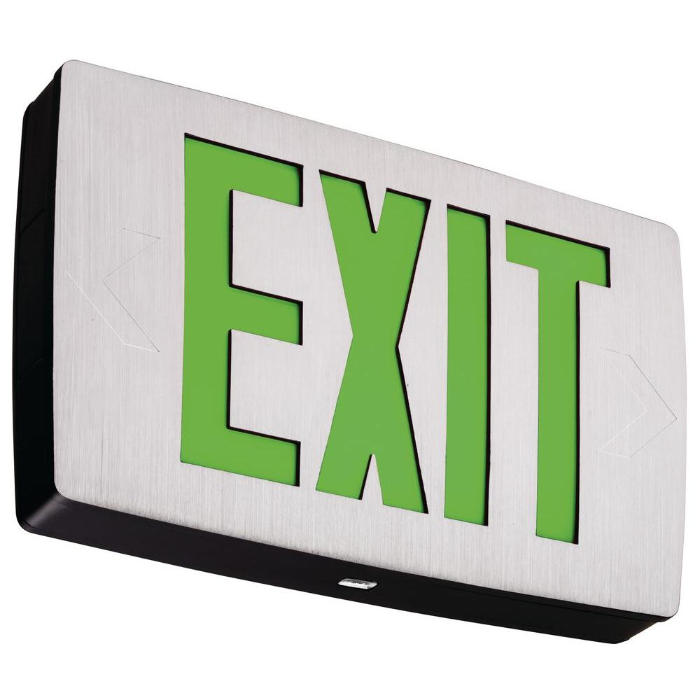 Lithonia Lighting Die-Cast Aluminum Green Letter LED Exit Sign-DISCONTINUED