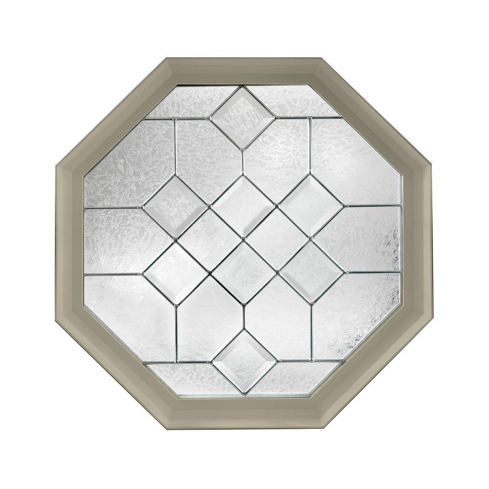 Hy-Lite 23.25 in. x 23.25 in. Decorative Glass Fixed Octagon Geometric Vinyl Window in Tan