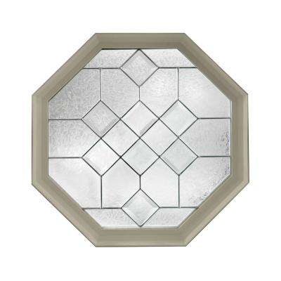23.25 in. x 23.25 in. Decorative Glass Fixed Octagon Geometric Vinyl Window in Tan