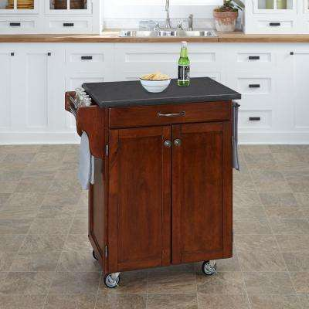 Cuisine Cart Cherry Kitchen Cart With Quartz Top