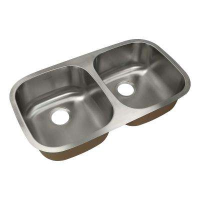Classic Undermount Stainless Steel 32.375 in. 50/50 Double Bowl Kitchen Sink in Brushed Stainless Steel