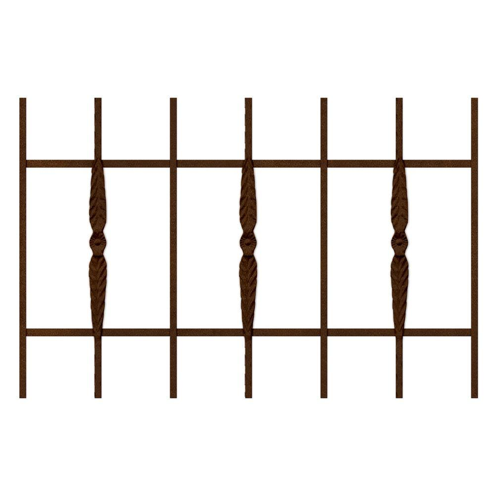 Unique Home Designs Cottage Rose 36 in.x 24 in. Copper 7-Bar Window Guard-DISCONTINUED