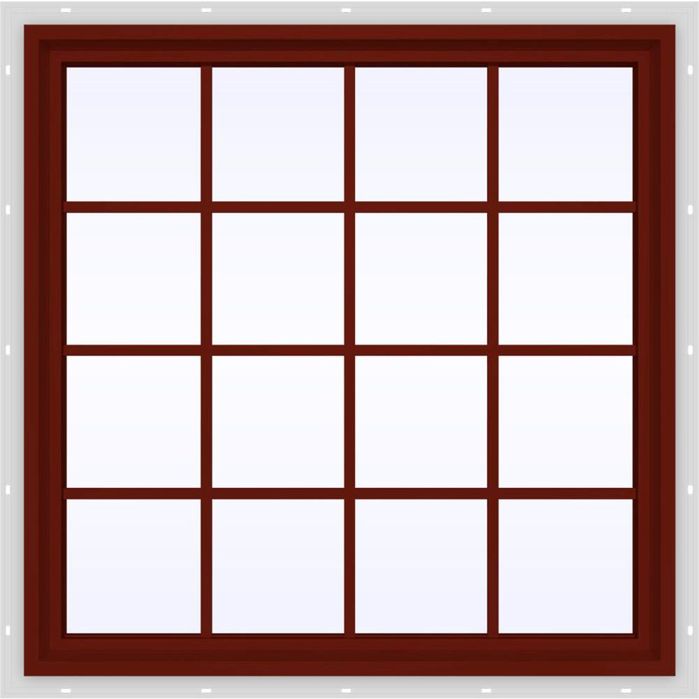 JELD-WEN 47.5 in. x 47.5 in. V-4500 Series Fixed Picture Vinyl Window with Grids in Red