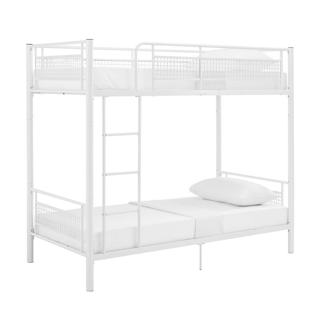 White Twin Metal Mesh Frame Bunk Bed
