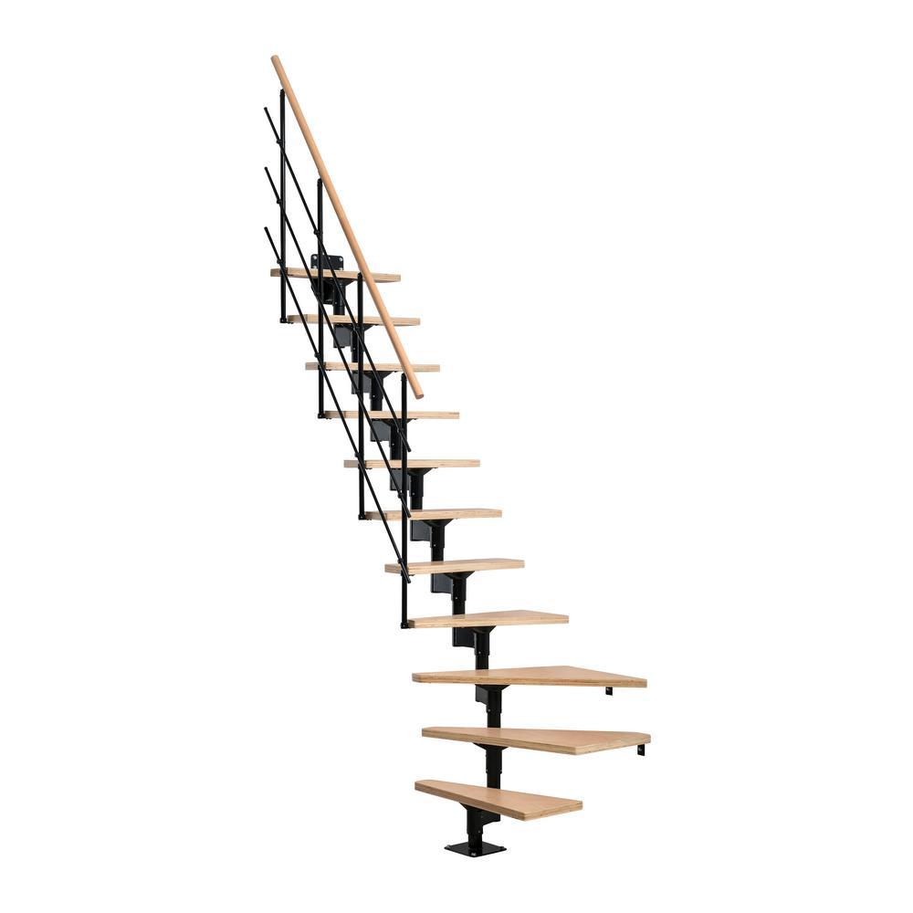 Lyon Black 9 ft. 3 in. Modular Staircase Kit