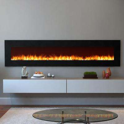 Grand 95 in. Pebble Electric Wall Mounted Fireplace in Black