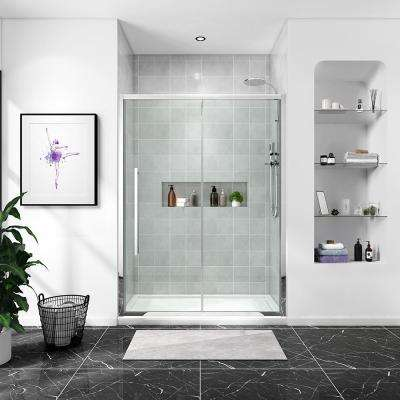 Chaye 60 in. x 78.74 in. H Semi-Frameless Sliding Shower Door in Chrome