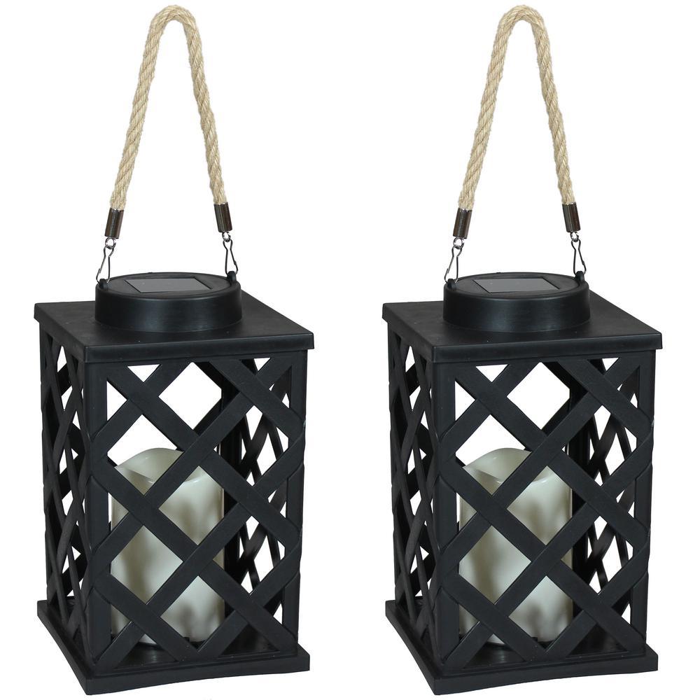 Modern Crosshatch Black Solar LED Candle Outdoor Lantern - 9-Inch 2-Pack