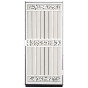 36 in. x 80 in. Sylvan White Surface Mount Outswing Steel Security Door with Almond Perforated Aluminum Screen