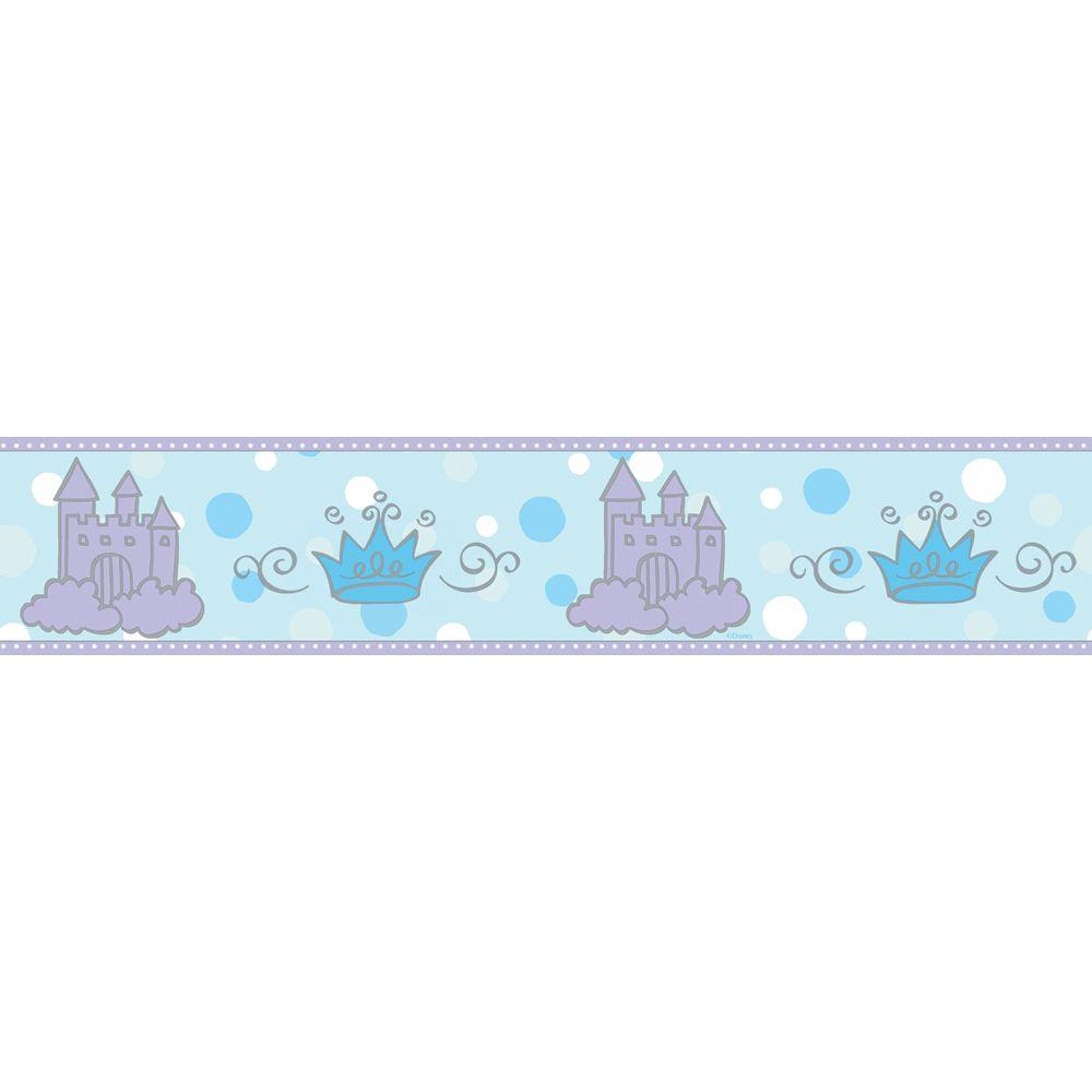 Disney 8 in. x 10 in. Blue Pastel Princess Castle and Tiara Border Sample-DISCONTINUED