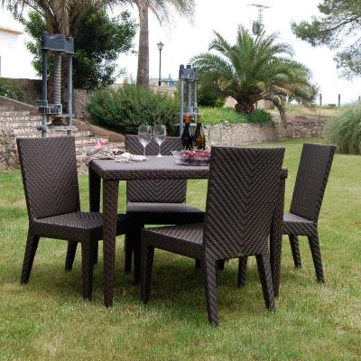 Soho Brown 5-Piece Wicker Outdoor Dining Set with Off-White Cushions