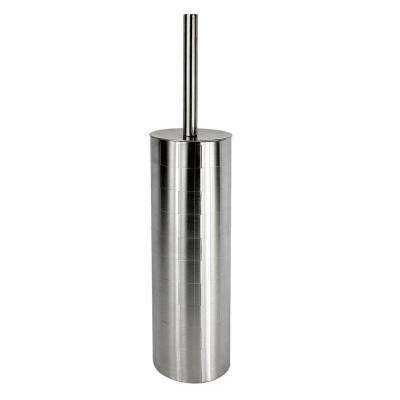 Toilet Brush Holder with Brush in Etched Stainless Steel