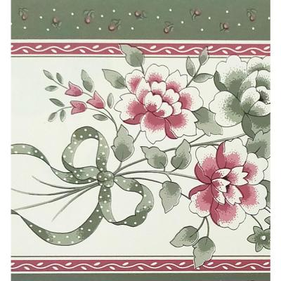 Falkirk McGhee Peel and Stick Floral Pink, Sage Green Bouquet Self Adhesive Wallpaper Border