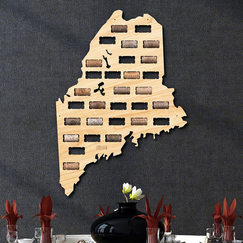 15.5 in. x 22 in. Maine Wine Cork Map