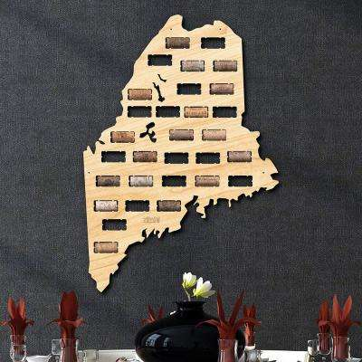 15.5 in. x 22 in. Maine Wine Cork Map