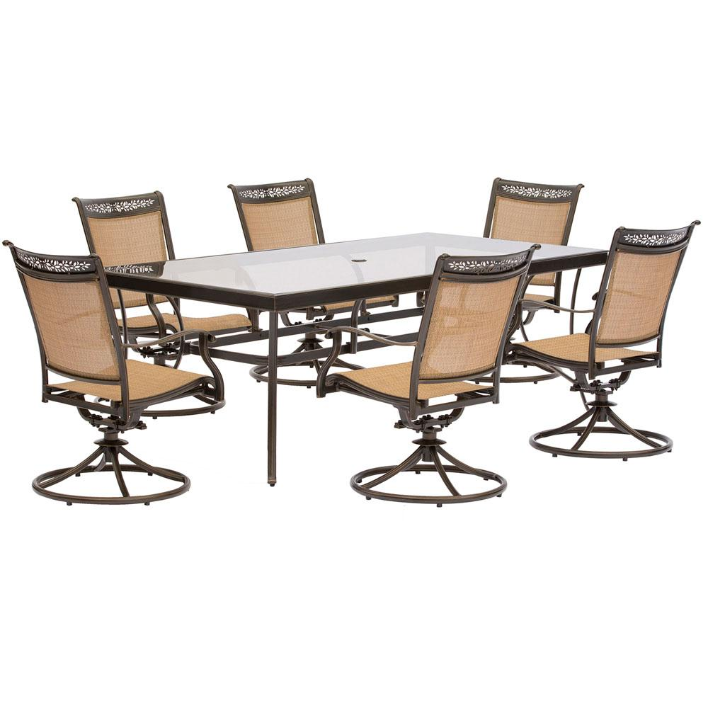 Hanover Fontana 7-Piece Aluminum Rectangular Outdoor Dining Set with Swivels and Glass-Top Table ...