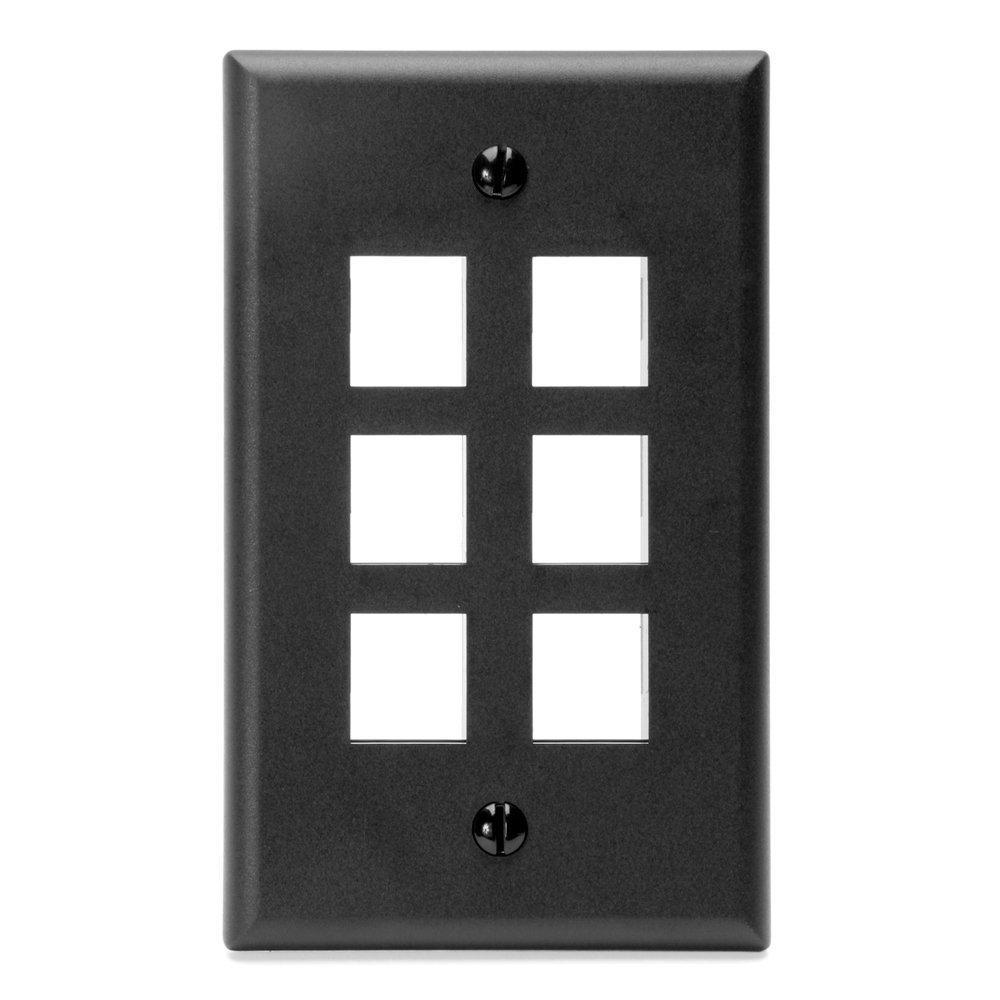 1gang quickport standard size 6port wallplate black