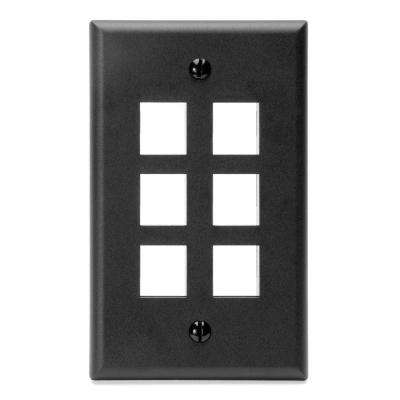 1-Gang QuickPort Standard Size 6-Port Wallplate, Black