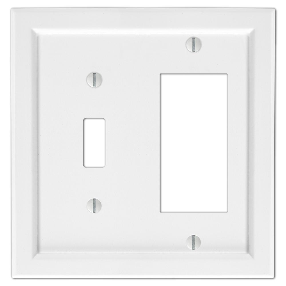 AMERELLE Woodmore 2 Gang 1-Toggle and 1-Rocker Wood Wall Plate - White