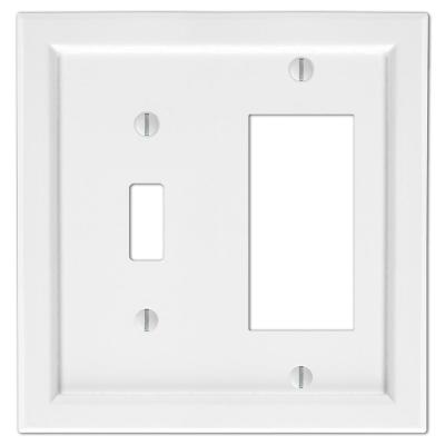 Woodmore 2 Gang 1-Toggle and 1-Rocker Wood Wall Plate - White