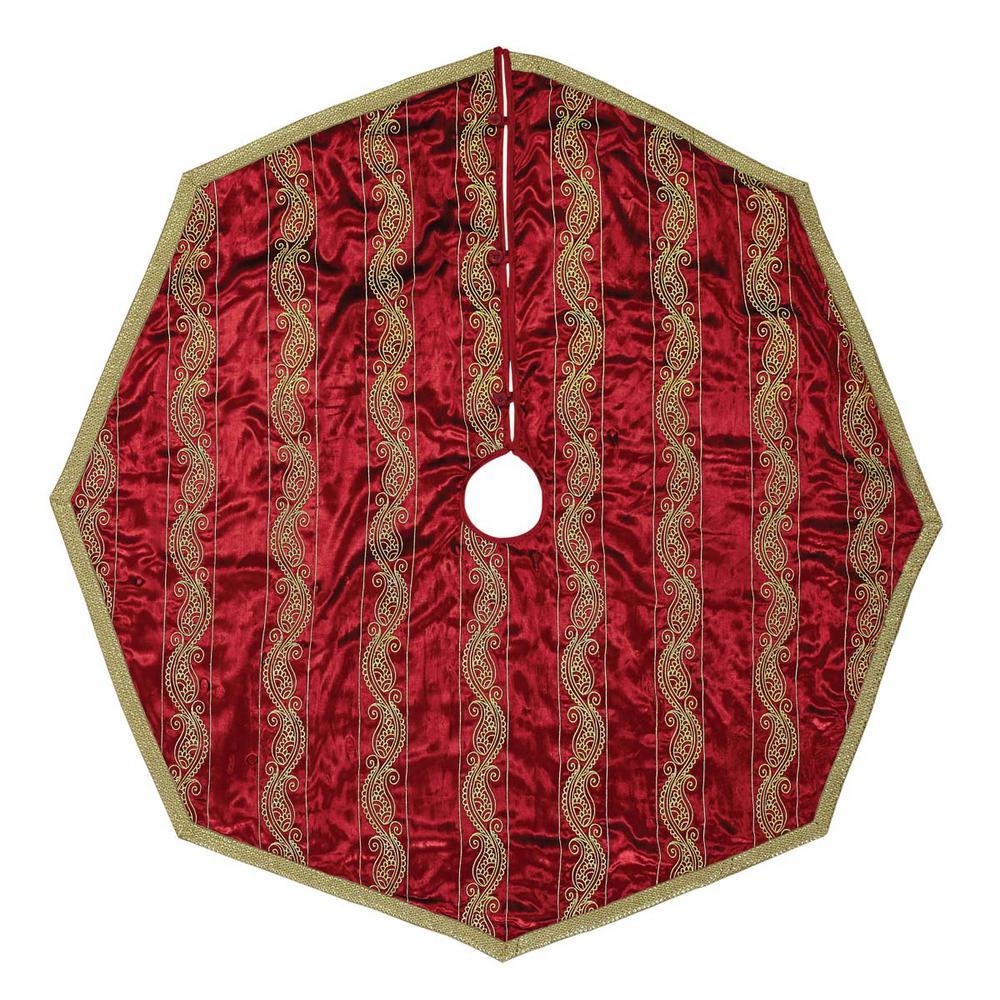 5987fc5da1 VHC Brands 55 in. Yule Christmas Red Glam Decor Tree Skirt-32094 ...