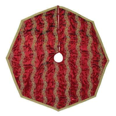 55 in. Yule Christmas Red Glam Decor Tree Skirt