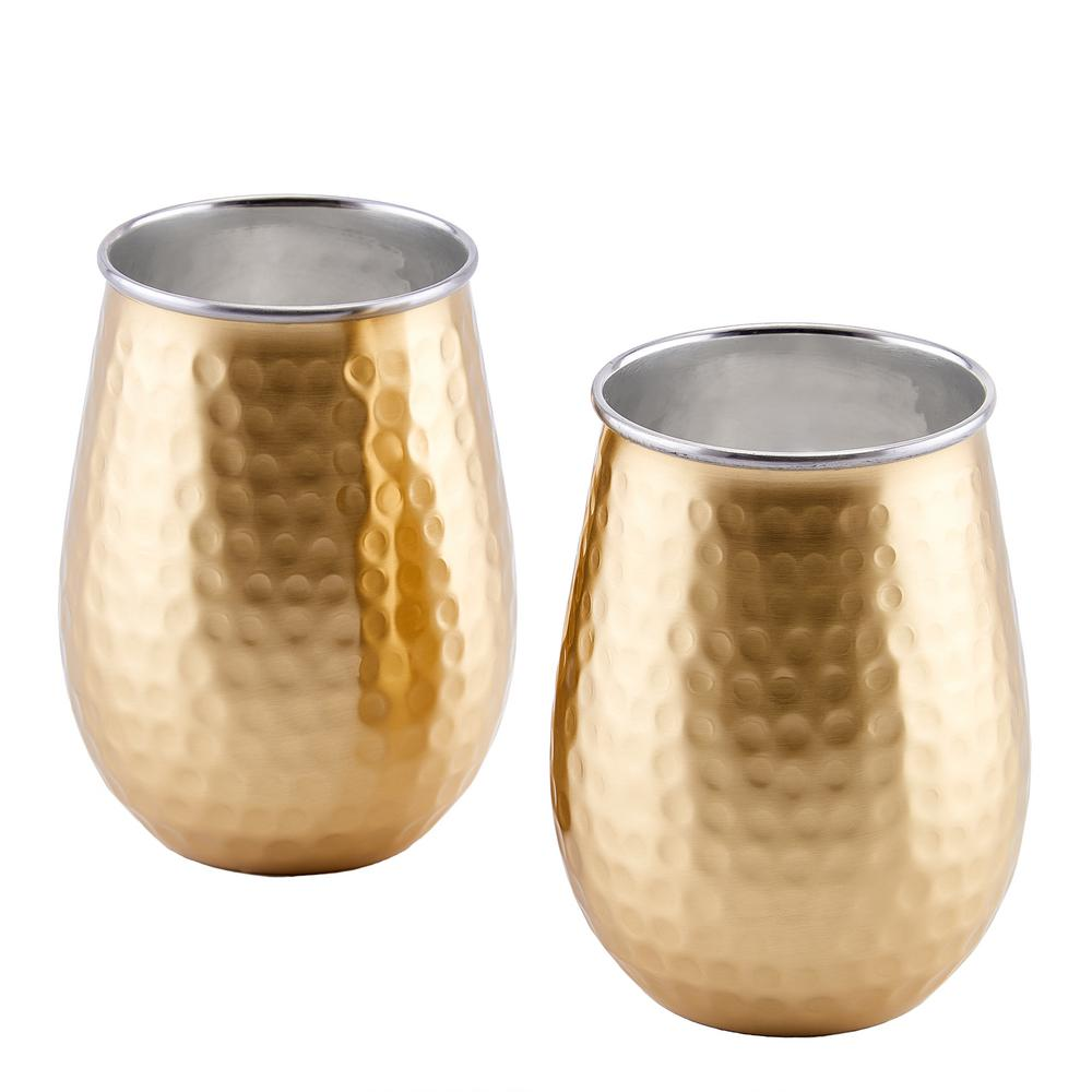 2-Ply Champagne Hammered Stainless Steel Stemless Wine Glasses (Set of 2)